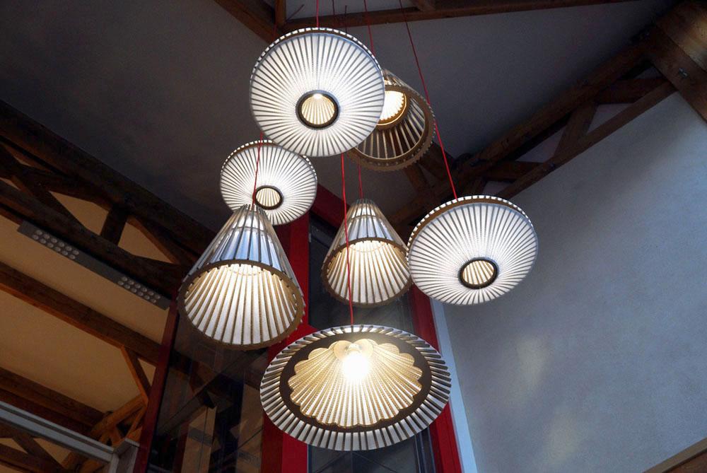 Grappe de luminaires carton et papier japonais, écologiques et fait main en France